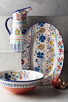 objets : vaisselle, Anthropologie House & Home, style folklorique