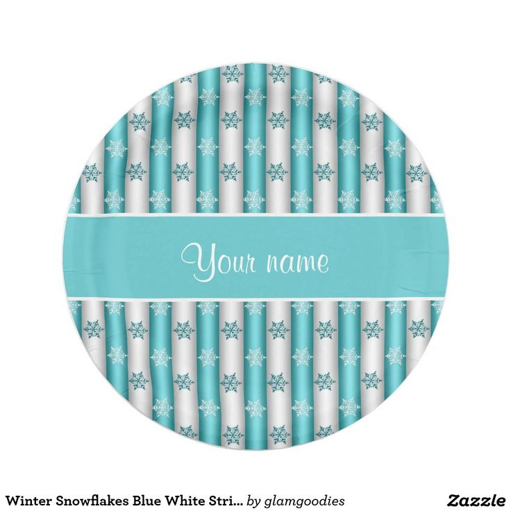 Winter Snowflakes Blue White Stripes Paper Plate  sc 1 st  Pinterest & 933 best Custom CHRISTMAS Paper Plates images on Pinterest ...