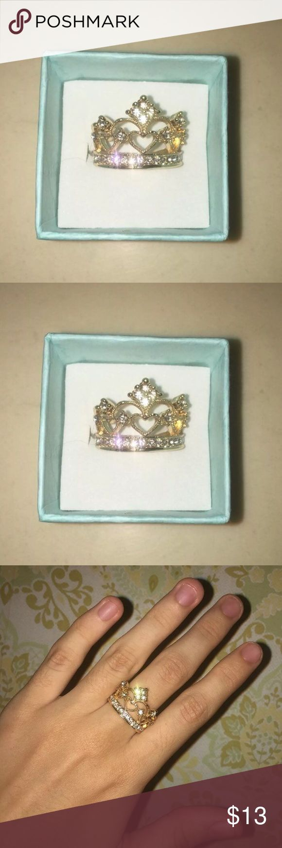 Princess Ring (Size 6) Gorgeous Golden Princess Ring!  Size: 6 Condition: New Materials: Gold and Mixed Metals Info: I acquire these in Mexico because the dollar to peso ratio is great! Most popular gol that comes from Mexico is 10K and I'm not 100% sure what the carat count for this Ring is.  I've had some of them in stock though for a month+ and they haven't changed color or tarnished at all! They do not turn your finger green/bruised looking.  I SHIP SAME DAY YOU PLACE YOUR ORDER or next…