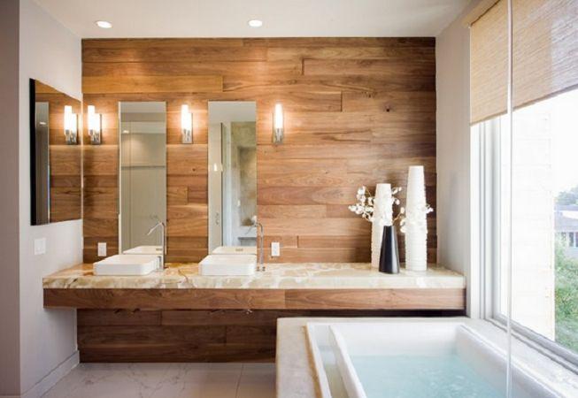 Nadie puede negar la calidez y tranquilidad que aporta la madera en cualquier cuarto de baño #MaderaEnElBaño