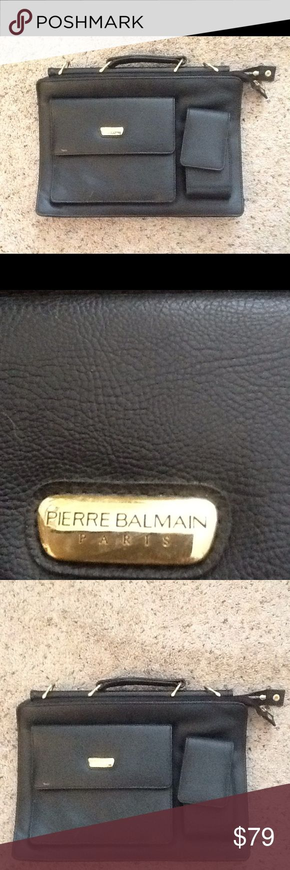 PIERRE BALMAIN BLACK LEATHER MESSENGER BRIEFCASE Pierre Balmain Paris vintage black leather messenger briefcase or laptop bag.  Gold Pierre Balmain logo.  Nice condition, with exception to a tad of discoloration on back corner, shown.  No Crossbody strap.  Sold As Is, and is a final sale. Amazing messenger. Check out my other designer items Pierre Balmain Bags Messenger Bags