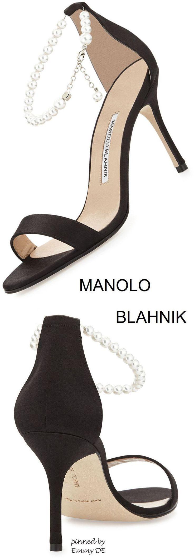 Emmy DE * Manolo Blahnik Chaos Pearly Ankle-Wrap Sandal #manoloblahnikheelszapatos #manoloblahnikheels2017