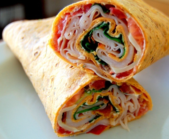 Turkey Bacon Club Wrap. Had this for lunch today and it was so good!!! Found 120 calorie tortillas and the whole wrap was 310 calories.