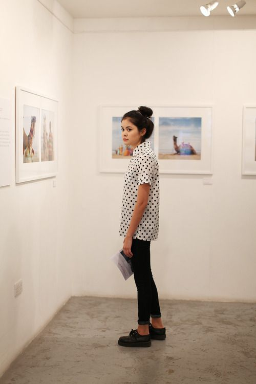 Street style fashion : polka dot blouse. Love this
