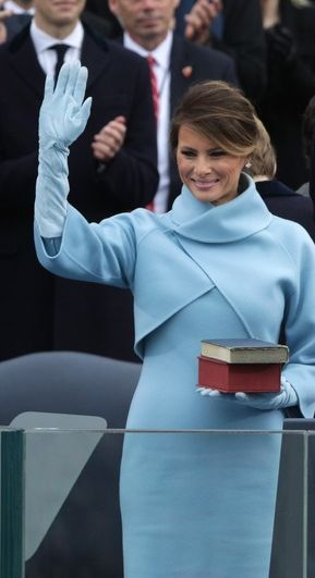 First Lady Melaina Trump looked stunning in this beautiful, blue ensemble for Inauguration Day