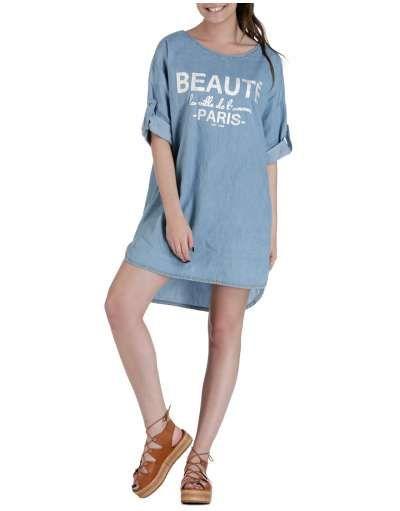 ΝΕΕΣ ΑΦΙΞΕΙΣ :: Jean Φόρεμα Beaute Paris Light Blue - OEM