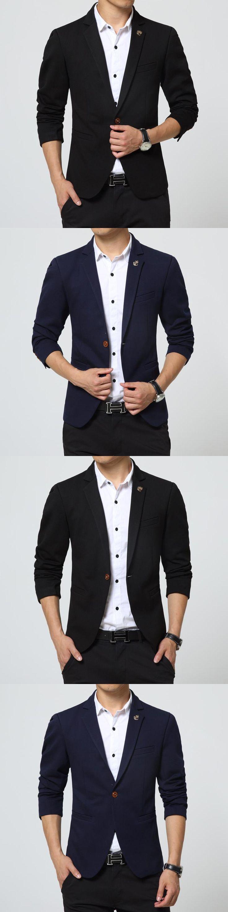 Mens Blazer Jacket black Slim Fit royal blue suit jacket casual coat long sleeve Ceket blazer masculine blazer hombre Male