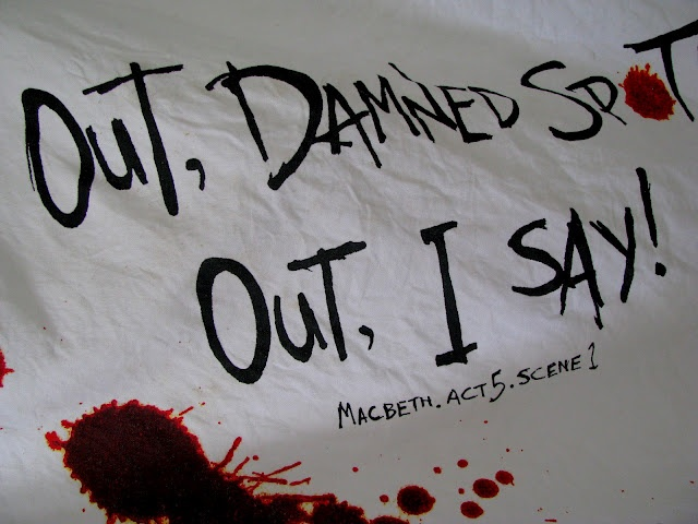 shakespeare - bloody kitchen towel - macbeth - out damned spot. out, i say!
