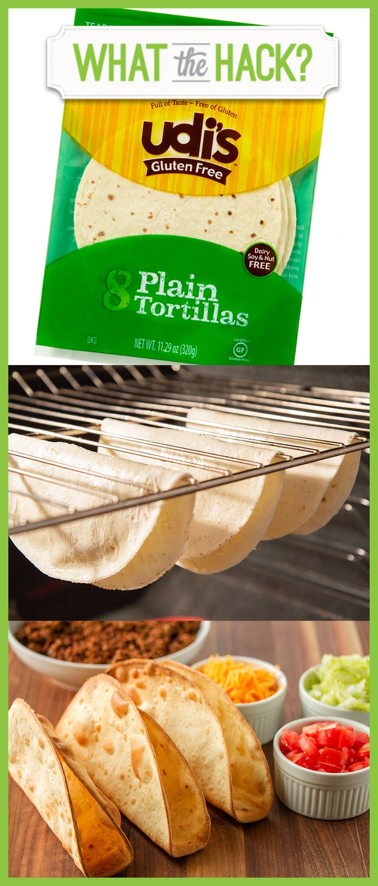 Make your own crispy #glutenfree taco shells with Udi's tortillas! #WhatTheHackCrispy Glutenfree, Glutenfree Tacos