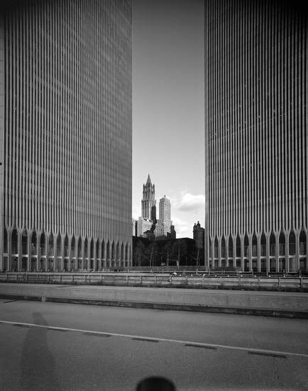 Looking northeast from the base of the Twin Towers of the World Trade Center, c.1977 Edmund V. Gillon