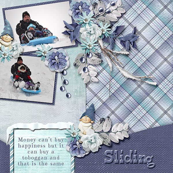 Poppa and the girls had so much fun racing down our sliding hill. Studio4 Designworks - Winter Whispers Page in a Pocket is lovely. The blues and cute wintery elements are great for winter layouts. There is even a bonus template in the kit to make creating your page even easier. http://www.godigitalscrapbooking.com/shop/index.php?main_page=product_dnld_info&cPath=29_164&products_id=29963&zenid=50d4f302c61f8f0964923f3e1e456567