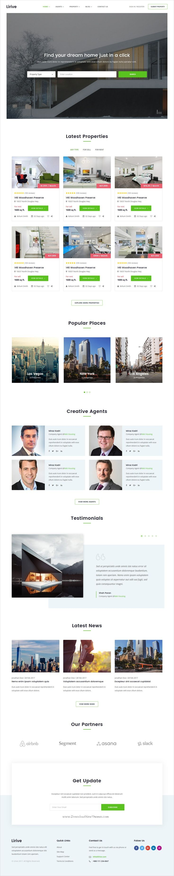 Lirive is clean and modern design 2in1 responsive #HTML5 template for #property and real estate agencies website download now..