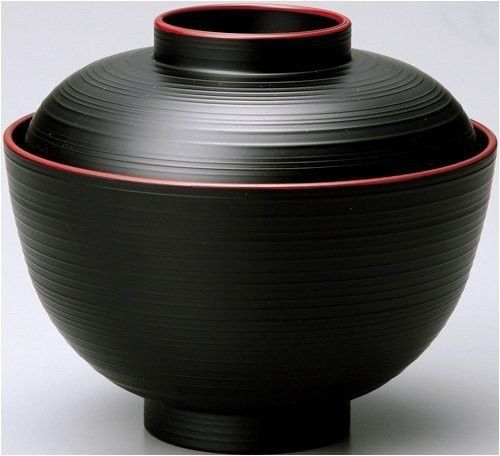 Happy Sales HSWF201B, Japanese Soup Rice Bowl with Lid Black