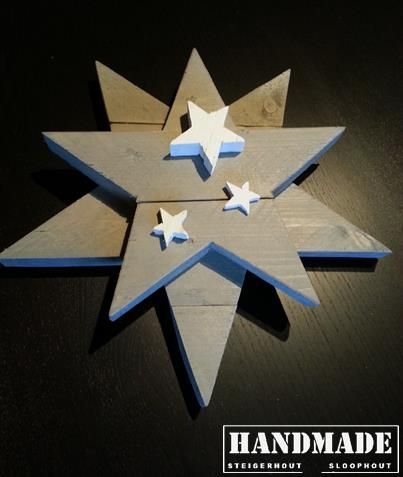 Steigerhouten kerst ster. Afgewerkt in greywash. Handmade WJ