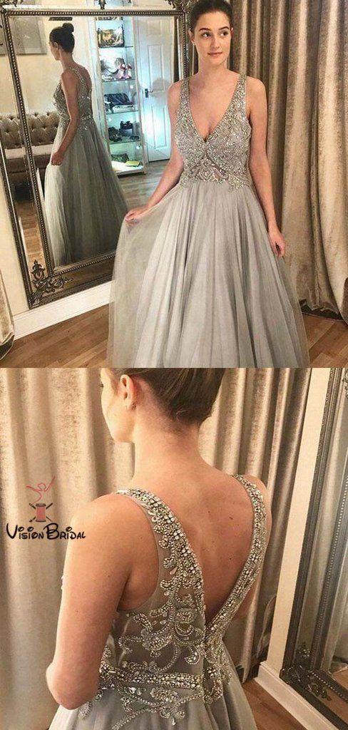 795da23baed Sparkly Top Beaded V-Neck Long A-Line Prom Dresses