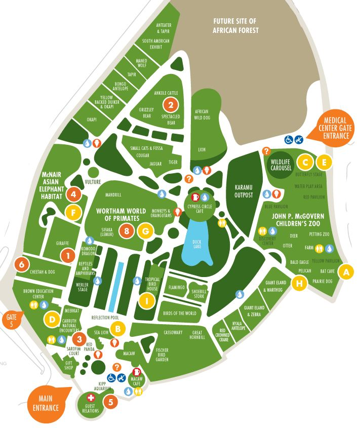 Houston Zoo Park Map Image. clean lines and clear to understand.