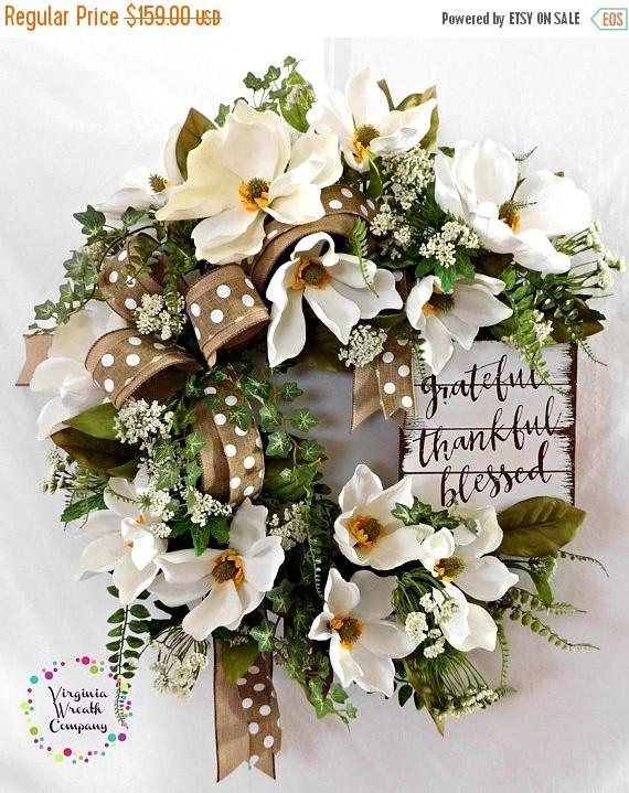 ON SALE CIJ Magnolia Wreath Farmhouse Wreath Magnolias