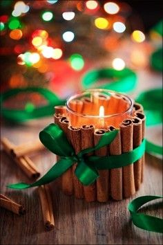 This could be a really cute, inexpensive gift idea for kids to help make and give to their teachers. Hot glue some cinnamon sticks onto a votive candle holder, tie a ribbon around it, and then place a votive candle inside before gifting it.