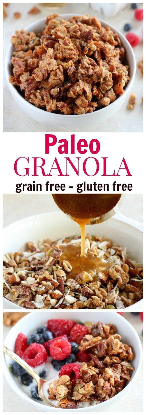 Grain Free Paleo Granola - A low-carb, grain-free Paleo granola filled with nuts, seeds, coconut and honey. Sweet, salty, crunchy and satisfying. All clean eating ingredients are used for this healthy granola recipe. Pin now to make for breakfast later.