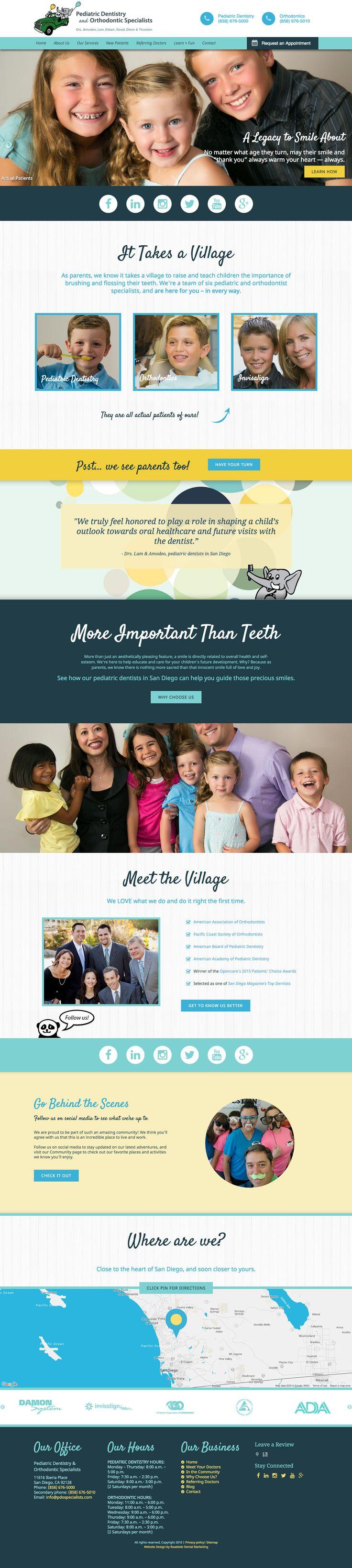 Responsive pediatric dentist website design by Roadside Dental Marketing #dental #website #design #responsive