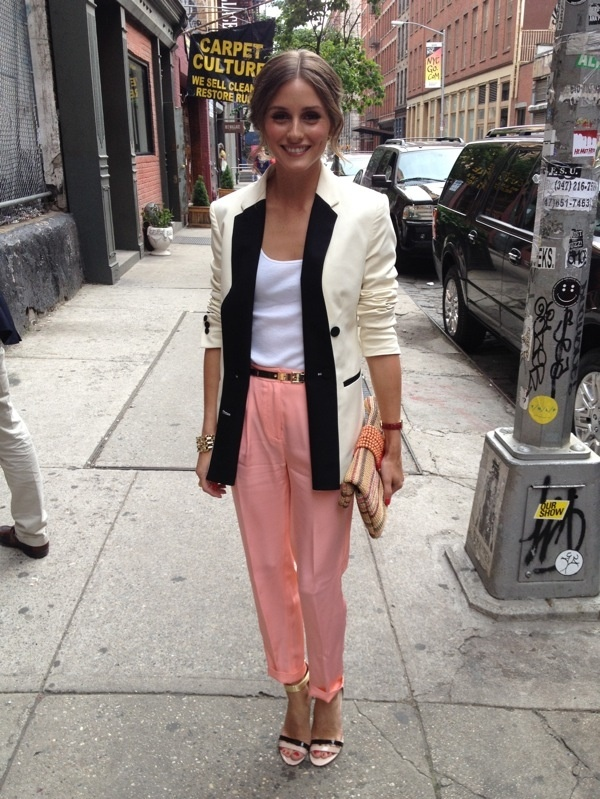 Who made Olivia Palermo's pink pants, beaded clutch handbag, white tank  top, white blazer, and sandals that she wore in New York on May
