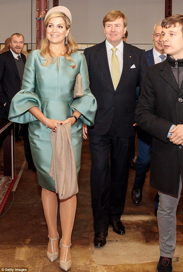 King Willem-Alexander And Queen Maxima Of The Netherlands arrive at the Spinlab - a former cotton spinning mill now home to a startup accelerator, where young entrepreneurs collaborate with cultural institutions