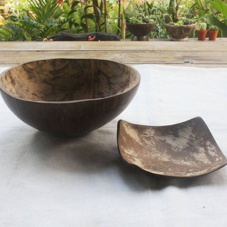 polish super shine Coconut bowl,set  bowl and plate by TheThailand on Etsy
