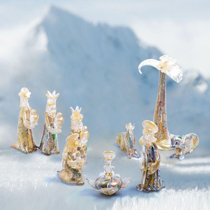 XMAS Nativity Scene by GAMBARO - 9 pcs #yourmurano  #artglass #nativityscene