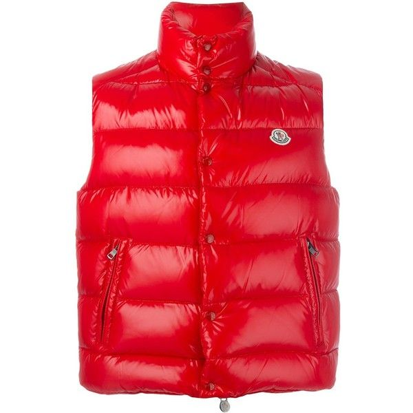 Moncler 'Tib' padded gilet ($575) ❤ liked on Polyvore featuring men's fashion, men's clothing, men's outerwear, men's vests, red, mens red vest, mens sleeveless vest, mens goose down vest and mens padded vest