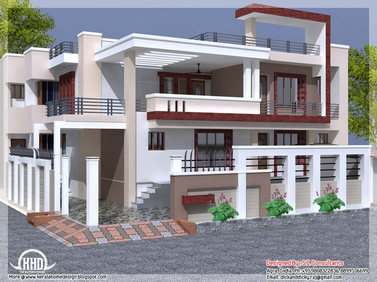 Indian house design houses pinterest indian house for Small house elevation in india