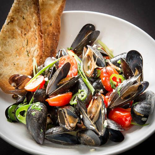 ... mussels, grape tomatoes, jalapeños, white wine-tequila broth, toast