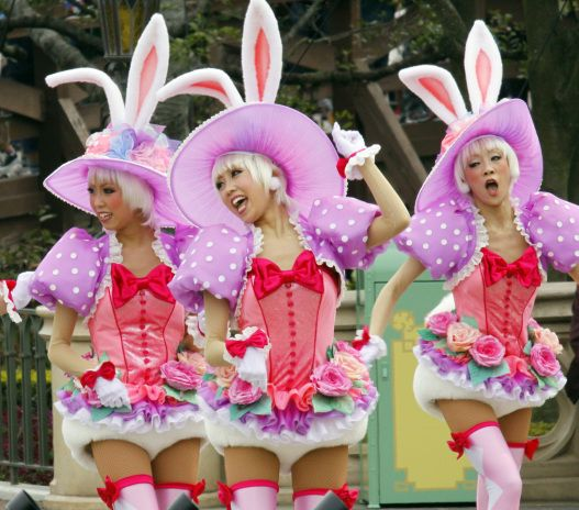 "Dancers in bunny costumes during the press preview for the new parade ""Disney Easter Wonderland"" at the Tokyo Disneyland at Urayasu city, suburban Tokyo on March 31, 2010. The Disney theme park will start the new attractions for the Easter, featuring the Alice in Wonderland from April 1 through June 30."