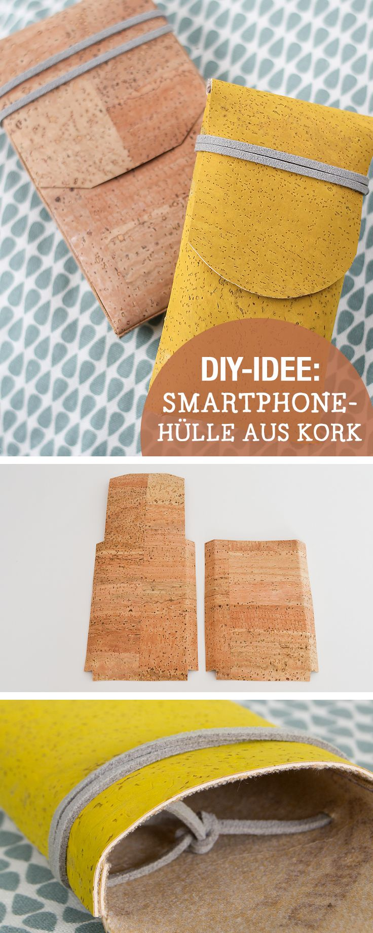 DIY-Anleitung für Smartphone Hülle aus Kork, Handytasche selbermachen / diy tutorial for smartphone cases made of cork, crafting with cork via DaWanda.com