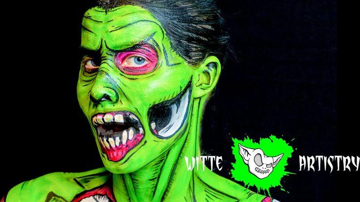 Pop Art The Walking Dead Zombie Halloween Makeup Tutorial in 4K - Witte ...