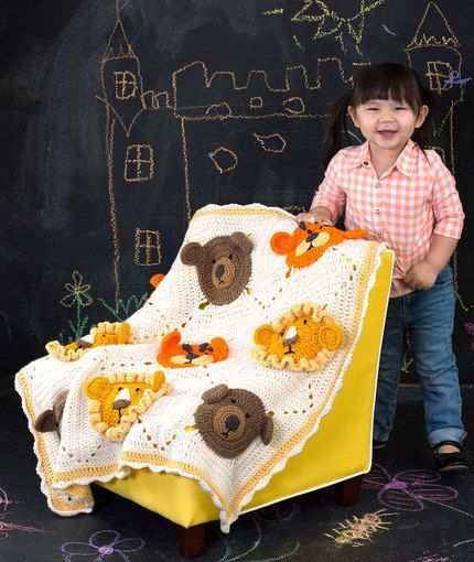 This Lion, Tiger and Bear Crochet Blanket is a FREE Crochet Pattern that you'll love to make and it will make a gorgeous gift for that special little one.  Don't miss the Teddy Granny Squares and Monkey Face Blanket too!