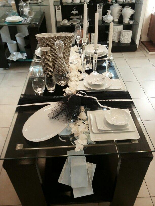 Black lace... white china... platinum wedding...#rosenthal