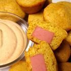 Corny dog muffins, Mix up a box of corn muffin mix. Add batter muffin tins. Submerge a bite size hot dog segment in each cup before baking. Follow baking directions on muffin mix