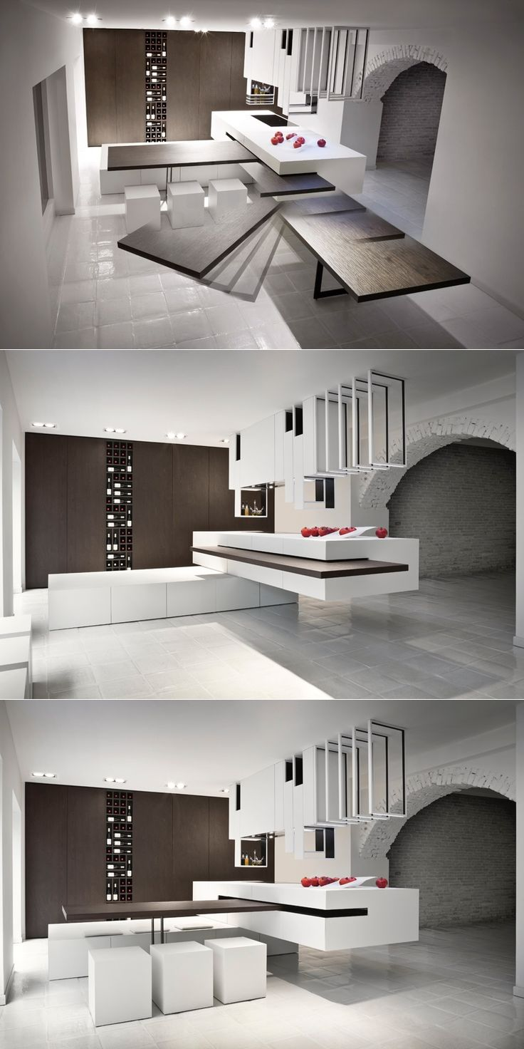 This clever kitchen design, 'The Cut', has units that can be reconfigured into different setups, including a slide-away table that can be concealed in an inconspicuous cut in the central block.