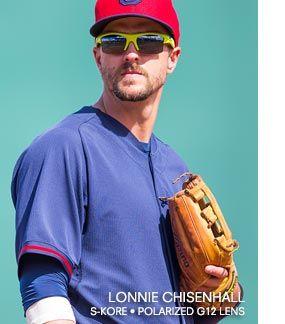 Lonnie Chisenhall wearing #Kaenon Sunglasses. His favorite sport-performance style by Kaenon: S-Kore in Lime Green w/ SR-91 Polarized Lenses.