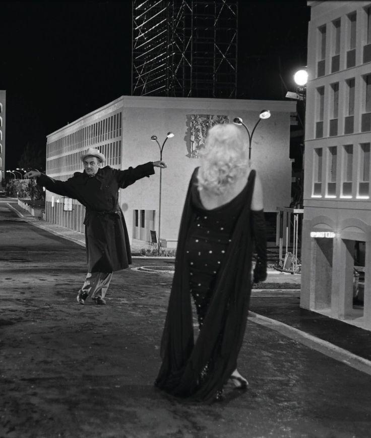 "Federico Fellini directing Anita Ekberg on the set of ""Boccaccio 70"""