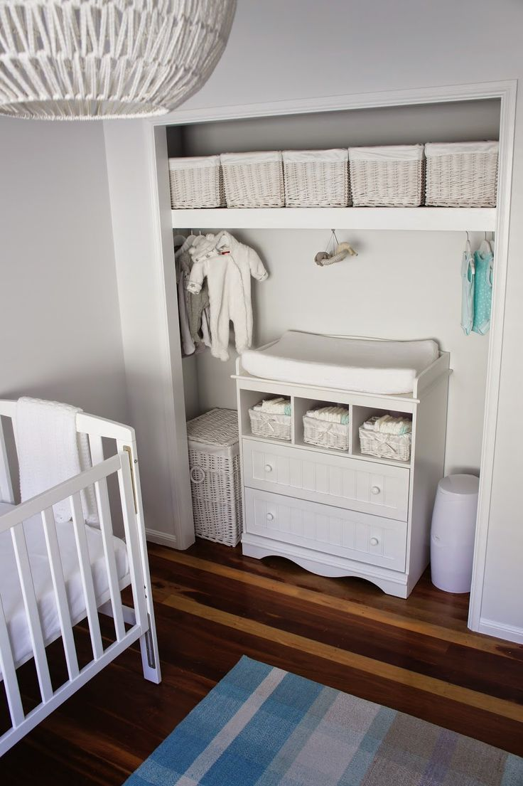 White Storage For Unisex Baby Room. I Love This Use Of The Closet!
