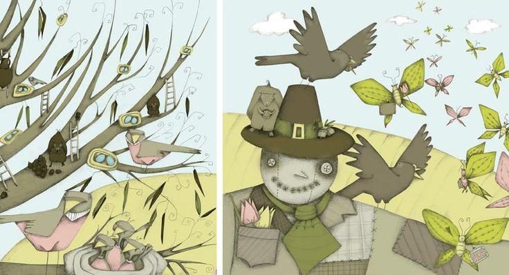 1 - Bird Scene, Auguary Book, 2006 2 - Scarecrow Scene, Auguary Book, 2006