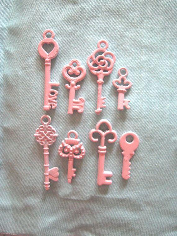 Set 8 Mini Brass VERY Ornate Skeleton Keys Shabby Chic Pink Pendants Jewelry Necklace Charms Home Decor Cottage Ornaments Hearts Owl Etc