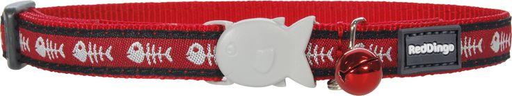 Red Dingo Designer Cat Safety Collar - Fish Bones (Red)