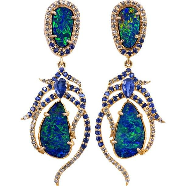 Peacock blue opal diamond and sapphire Art Nouveau design earrings. To order @tobylynngems