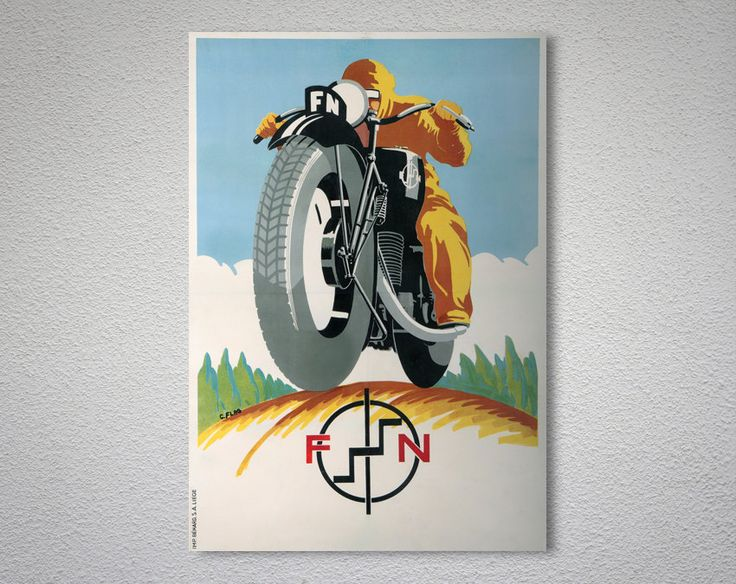 FN Motorcycle Vintage Cycle  Poster, Canvas Giclee Print