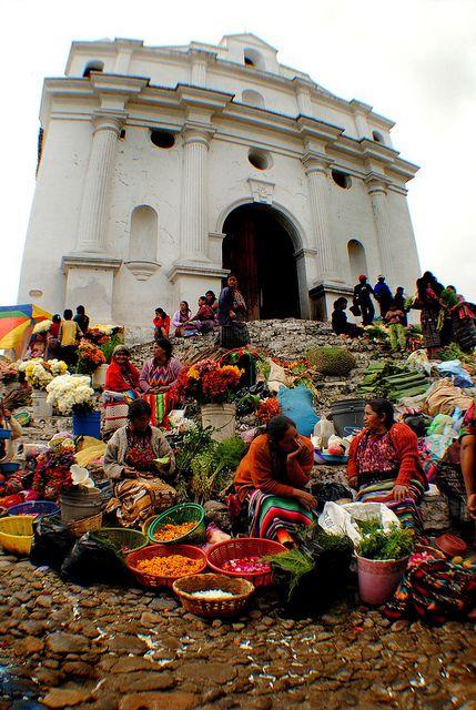 """Market Day"" - Chichicastenango Quiche - Guatemala    Catholic Church in Guatemala Chichicastenango market day."