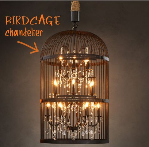 Birdcage: Crystals Chand, Hardware Birdcages, Vintage Birdcages, Restoration Hardware, Birds Cages, Lights Fixtures, Vintage Birds, Birdcage Chandelier, Birdcages Chandeliers