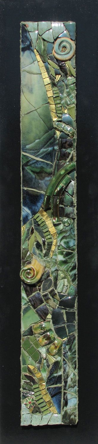 "Equinox, by Dawn Mendelson, DayBreak Mosaics.  10"" x 28"" - broken ceramic, smalti, stones, glass, gold - SOLD"