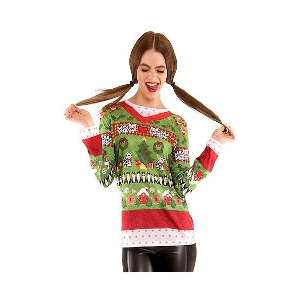 Women's Ugly Christmas Sweater Cats, Long Sleeve T-Shirt ($30) ❤ liked on Polyvore featuring halloween and multicolored